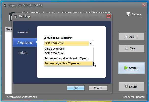 file shredder settings